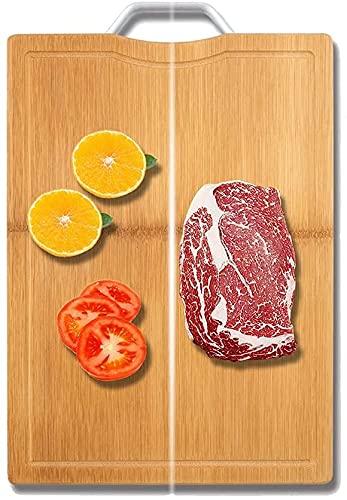 HGFHG Tabla De Cortar De Bambú con Ranura para Jugo Y Mango Espesar Tabla De Cortar De Madera Antideslizante para Verduras Frutas Bandeja De Carne Herramientas Accesorios De Cocina