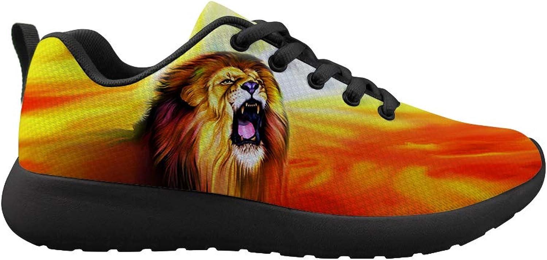 Owaheson Cushioning Sneaker Trail Running shoes Mens Womens Sunrise Roar of Lion