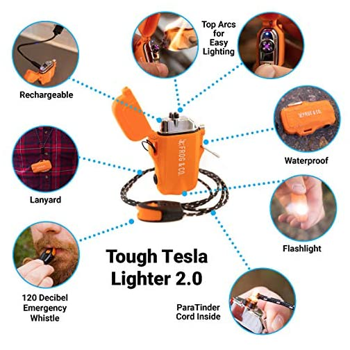 Tough Tesla Lighter 2.0 – Outdoor Waterproof Windproof Top-Facing Dual Arc Plasma USB Electric w/ Built-in Flashlight… 5