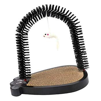 Tubayia Arche de toilettage pour animaux de compagnie - Avec griffoir et souris - Noir
