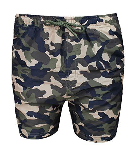 Evoga Costume Uomo Mare Militare Mimetico Verde Pantaloncino Slim Fit Shorts Bermuda (XXL)