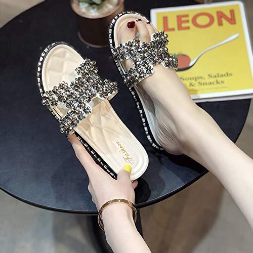 """N""""A Zapatillas Mujer Zapatillas De Verano Nuevas Salir De La Red Palabra Roja Arrastrar Zapatos De Playa De Moda Femenina Sandalias De Playa De Diamantes De Imitación Negro 36(Color:Blanco,Size:38)"""
