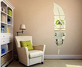 Acrylic Wall Stickers Feather Dressing Mirror Mirror 3d Three-dimensional Tied Bedroom Living Room Decor - Silver