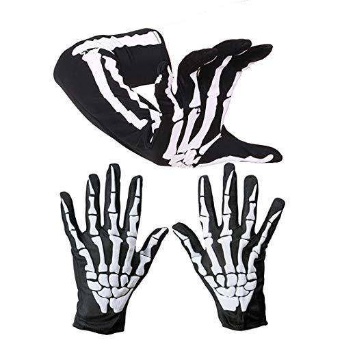 Queta Set Halloween Skeleton Handschuhe mit Kurze Lange Cosplay Zubehör Ghost Bones Cosplay Kostüme Erwachsene und Kindern Bone Handschuhe Ellenbogen Skeleton Handschuhe Halloween Party