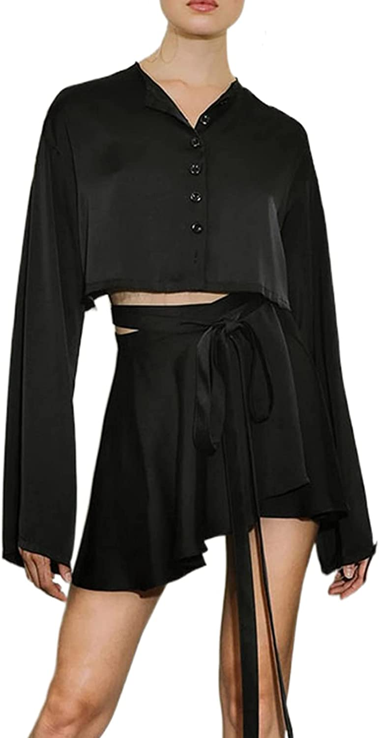 Women Y2K Sweet Short Sets Solid Color Long Sleeve Button Down Cardigan Crop Tops Wrap Mini Skirt Suits Loungewear