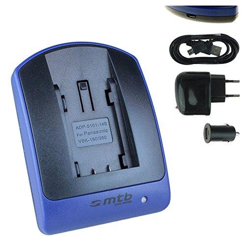 Ladegerät (USB, KFZ, Netz) für VW-VBT380 / Panasonic HC-V180, V380, V727, V777. / VFX989, VFX999 / W570, W580. - s. Liste