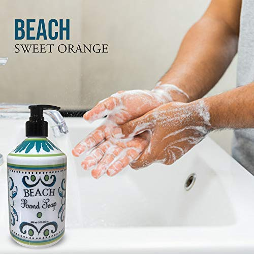 La Tasse Hand Soap, 4-pack Scents: (1) Sweet Orange, (1) Gardenia, (1) Creamy Coconut, (1) Beach, 21.5 FL OZ Each New Jersey