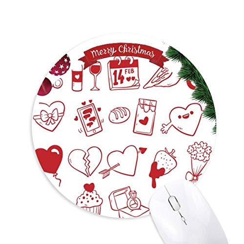 Valentinstag Wein Liebe Bird Herz rund Gummi Maus Pad Weihnachtsbaum Mat