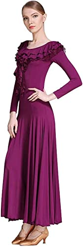 LRR Robe De Spectacle De Danse De Valse Moderne avec Col en Dentelle à Manches Longues , Pratique Grande Jupe évasée (Couleur   violet, Taille   XL)