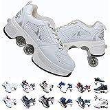 SHANGN Patines En Línea, Zapatos Multiusos 2 En 1, Patines Ajustables De Cuatro Patines,White-38