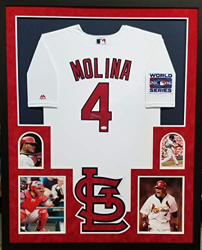 Yadier Molina St Louis Cardinals Autograph Signed Custom Framed AUTHENTIC Majestic Wold Series 2006 Patch Jersey Suede Matted JSA Certified Authentic