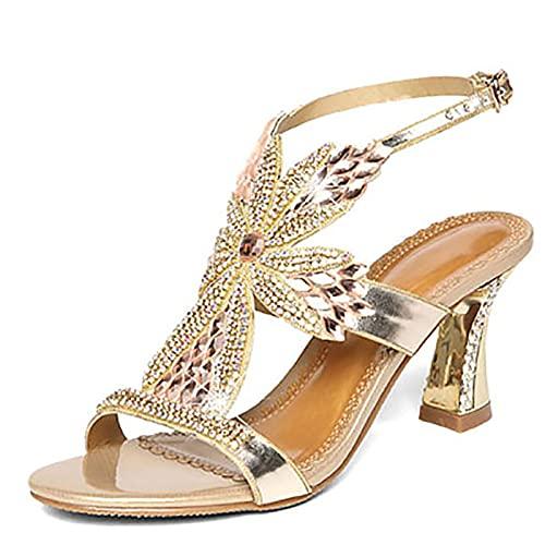 BLANSHAN Sandalias de tacón Medio para Mujer, Correa de Tobillo Ajustable, Zapatos...