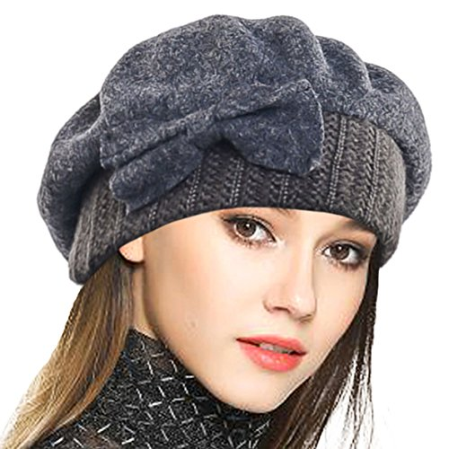 VECRY Mujer Boina 100% Lana Vestido Beanie Invierno Sombrero (Gris)