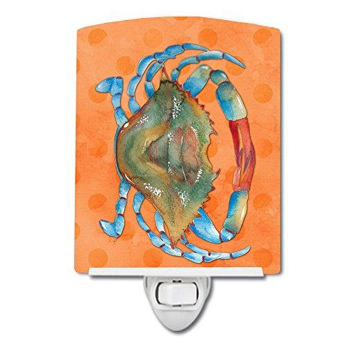 Caroline's Treasures BB8248CNL Blue Crab Orange Polkadot - Lámpara de noche de cerámica, 6 x 4 x 3, multicolor