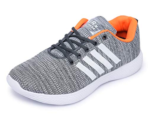 TRASE Men's Grey & Orange Running Shoe - 8 UK
