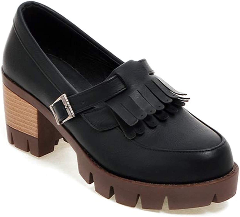 GIY Women's Tassel Platform Oxford Pump Round Toe Slip On Chunky High Heel Vintage Dress Oxfords shoes