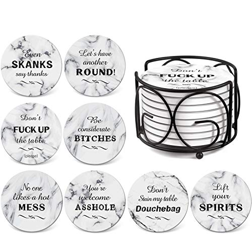 Teivio 8 Piece Coaster for Drinks Absorbent Stone Coasters Set Cork Base, Metal Holder, Marble Funny...