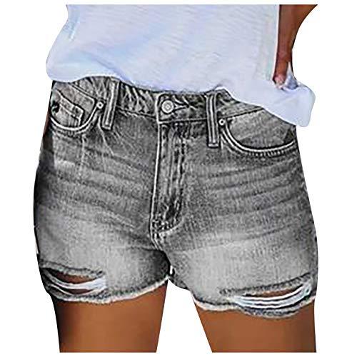 MEITING Damen Kurze Jeans Sommer Hosen Retro Destroyed Zerrissene Jeansshorts Sommer Hot Shorts Casual Jeans-Shorts Denim High Waist Boyfriend Jeanshose mit Löchern