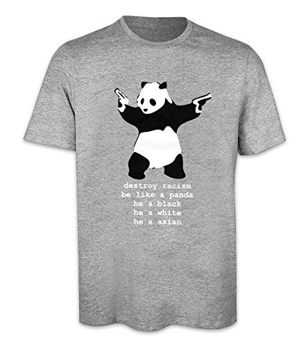 T-Shirt - Destroy Racism Panda Banksy Shirt, grau, 100% Baumwolle (L)