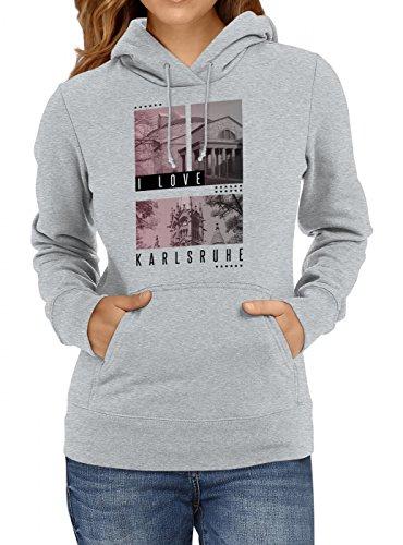 Shirt Happenz I Love Karlsruhe Premium Hoody Liebe Deutschland Städtetrip Frauen Kapuzenpullover, Farbe:Graumeliert;Größe:XXL