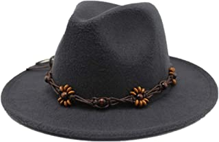 Lei Zhang Men Women Wool Fedora Hat With Wide Brim Church Party Hat For Gentleman Elegant Lady Trilby Jazz Fascinator Hat Size 56-58CM