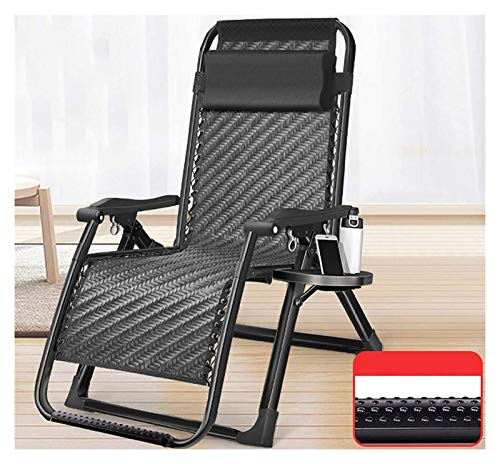 Zero Gravity Lounge Chair Summer Folding Outdoor Reclining Garden Chaise Lounges With Head Pillow Lightweight Adjustable Camping Chairs For Home Balcony Porch Garden Poolside Patio ( Color : Black )