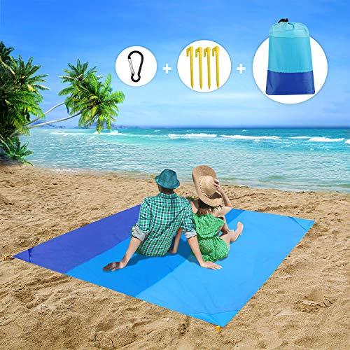 MMTX Portatile Impermeabile Coperta da Spiaggia, 210X200cm Telo Mare Antisabbia Tappetino Campeggio Accessori con 6 Picchetti Fixed Picnic per Spiaggia, Viaggi, attività All aperto(Blu)