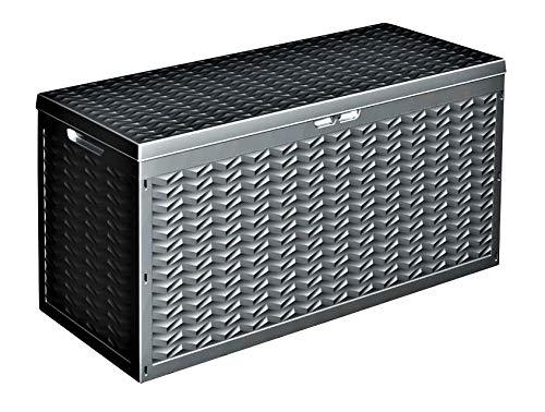 DRULINE Auflagenbox/Kissenbox 380 Liter 100% Wasserdicht Kunststoff Gerätetruhe mit Belüftung dadurch kein übler Geruch/Schimmel Boxe Gartenbox Tarrase Nutzvolumen.Griffe Gartentruhe (Anthrazit)