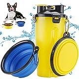 Bottiglia d'Acqua per Cane Portatile Cani Gatto Animali,2 Silicone Ciotola Pieghevole per Cane Abbeveratoio Portatile in Silicone Alimentare Viaggio Giallo