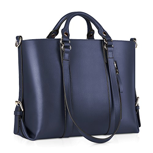 Kattee Women's Genuine Leather Handbags for Women, Tote Bags and Cross-body Purses Dark Blue