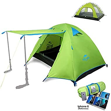 Topnaca Naturehike 2 3 4 Person 3 Season Backpacking Tents Camping, Ultralight Waterproof Vestibule Awning Two Doors Double Layer Aluminum Rods Family Beach Hunting Hiking (Green, 3 Person)