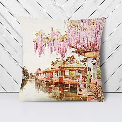 Big Box Art Cushion and Cover - Ella Du Cane Japanese Oriental Wisteria, Nagaoka - Single Square Throw Pillow - Soft Faux Suede Material - Stone Rear - 40x40 cm