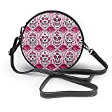 Bolso redondo mujer Women's Round Vegan Leather Crossbody Messenger Shoulder Bag Pink Sugar Skull Art Circle Tote Hobo Bag For Girls Sling Bag