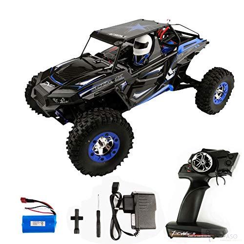 Fm-electrics Coche teledirigido WL12428-B azul 4WD 1:12 con batería LiPo y 50 km/h rápido.