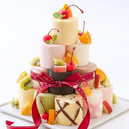 9種のミニロールを自己流アレンジで楽しむ ロールケーキ タワー 27個 新杵堂 デコレーションケーキ 誕生日ケーキ バースデーケーキ プチケーキ スイーツ かわいい ケーキ 子供 チョコ 抹茶 苺
