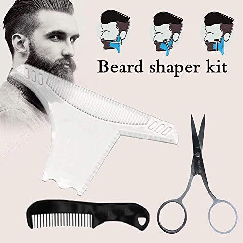 shewt Kit Peigne Barbe Peigne Barbe Shaper modèle Transparent avec des Ciseaux de Nez - Fonctionne avec Toutes Les tondeuses Barbe