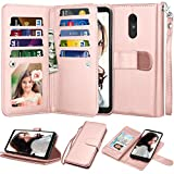 NJJEX LG Stylo 4 Case, LG Stylo 4 Wallet Case, LG Q Stylus/Stylus 4/Stylo 4 Plus Case, [9 Card Slots] PU Leather ID Credit Flip [Detachable][Kickstand] Magnetic Phone Cover & Wrist Strap [Rose Gold]
