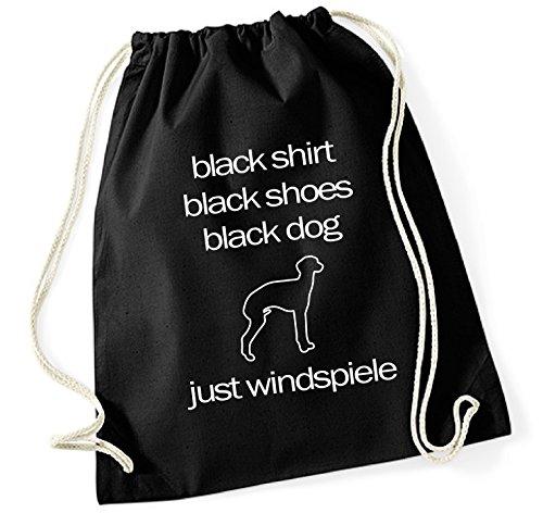 siviwonder Turnbeutel - ITALIENISCHES WINDSPIEL Italien Italian Greyhound Windhund - BLACK DOG - Hund Hunde Baumwoll Tasche Beutel schwarz