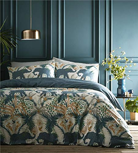 Homemaker  Duvet sets Indian elephant tropical palm quilt cover bedding set (King)