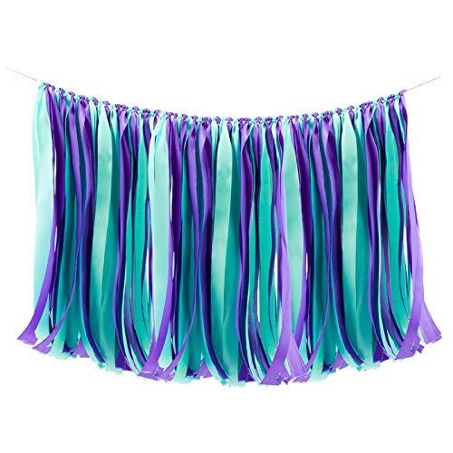 WANDIC Ribbon Tassel Garland, Mermaid Fabric Banner Backdrop Bunting Hanging Decoration for Baby shower, Weddings, Birthday, Anniversary, Graduation Party Decor