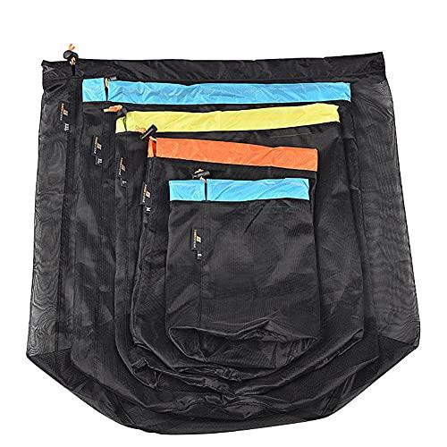 Kompressionsväska packpåse för sovsäck kompressionsväska nät dragsko förvaring lättviktsväska för utomhus camping vandring 3 st