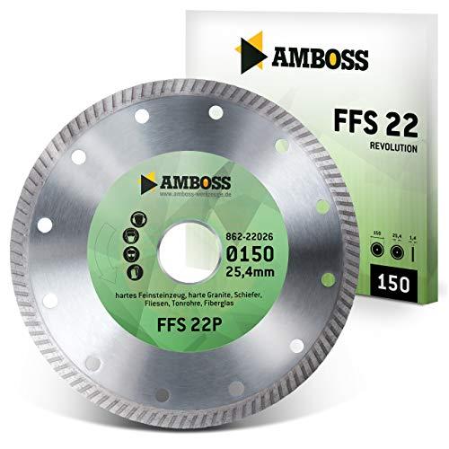Amboss FFS 22 - Diamant-Trennscheibe Ø 150 mm x 25,4 mm - Hartes Feinsteinzeug (bis 1,2 cm) / harte Granite/Schiefer/Fliesen/Tonrohre/Fiberglas | Segmenthöhe: 7 mm