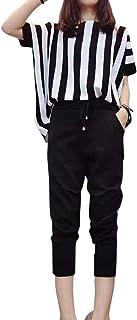 Chaufly 女性 セット 2本/セット夏 女性 ルース ファッション ストライプ ブラウス ハイウエスト パンツ 服
