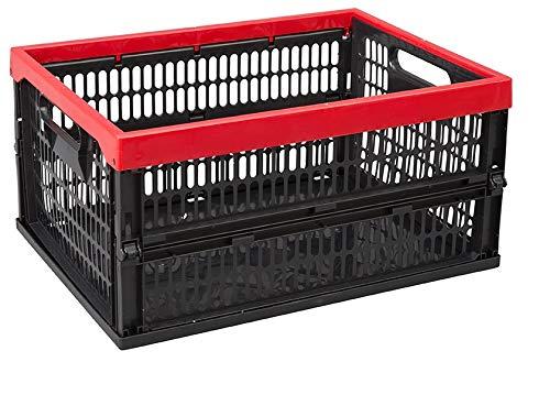 Allibert 229890-Caja Plegable, plástico, Negro/Rojo, 47,5x 35x 5,6cm