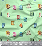 Soimoi Grün Samt Stoff Zahlen & Buchstaben Text Dekor