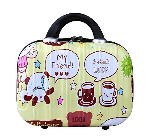 Genda 2Archer Cute Cartoon Hard Shell Cosmetic Carrying Case Small Travel Hand Luggage (Cartoon-Yellow)