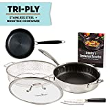 Copper Chef Titan Pan, Try Ply Stainless Steel Non-Stick Frying Pans, 5-Piece Cookware Set with Recipe Book (11 Inch with 8 Inch Pan)