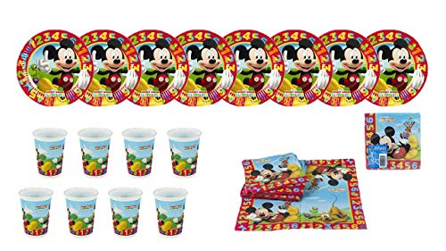 ALMACENESADAN 2440; Party- und Geburtstagspaket Disney Mickey Mouse 1,2,3; 8 Teller 19,5 cm, 8 Gläser und 20 Servietten.