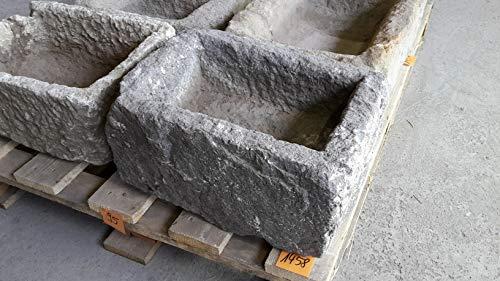 Der Naturstein Garten Alter Trog aus Granit 39 cm lang Brunnen Steintrog - G1458 Granittrog Waschbecken