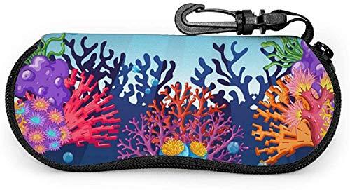 MODORSAN Estuche para gafas de sol suave Coral Reef para mujeres y hombres Estuche portátil para anteojos con cremallera de neopreno